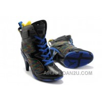 Women's Nike Air Jordan 6 High Heels Shoes Black/Blue Hot
