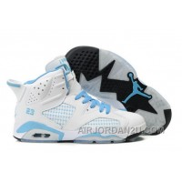 Discount Women's Nike Air Jordan 6 Shoes White/Light Blue 453510