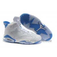 Discount Women's Nike Air Jordan 6 Shoes White/Light Blue