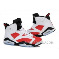 Discount Women's Nike Air Jordan 6 Shoes White/Red/Black