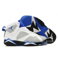 Discount Women's Nike Air Jordan 7 Shoes White/Grey/Black/Blue