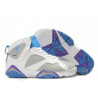 Discount Women's Nike Air Jordan 7 Shoes White/Grey/Blue