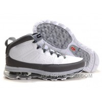 Cheap Men's Nike Air Max Jordan 9 Shoes White/Dark Grey