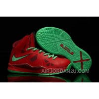 Nike Lebron 10 Kids Shoes Christmas Red/Green Online Y3kSR