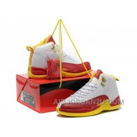 Coupon Code For For Sale Air Jordan 12 Mens Shoes Online White Red Yellow New