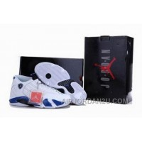 Reduced On Sale Popular Nike Air Jordan 14 Xiv Mens Shoes White Blue For Sale