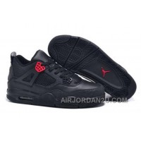 Low Cost 2015 New Nike Air Jordan Iv 4 Critical Crack Mens Shoes All Black Red For Sale