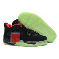 Low Cost Air Jordan 4 Iv Mens Shoes Glowing Black Red Online