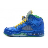 New Arrival Closeout Nike Air Jordan V 5 Retro Laney Mens Shoes Blue Yellow