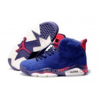 Uk Sale To Buy Online Air Jordan 6 Mens Shoes Anti Fur Blue White Red Cheap