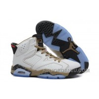 Cheap Coupon For Nike Air Jordan Vi 6 Retro Mens Shoes New White Yellow Brown Hot