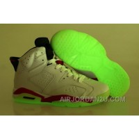 Where Can I Buy Nike Air Jordan Vi 6 Retro Menss Shoes Glow In The Night All White Red Green Cheap