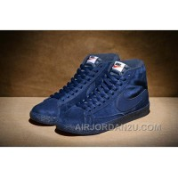 NIKE BLAZER High PRM VNTG 518171 Pig Leather Men Navy Blue Lastest