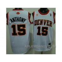 Nba Denver Nuggets #15 Anthony Throwback White Authentic REm5a