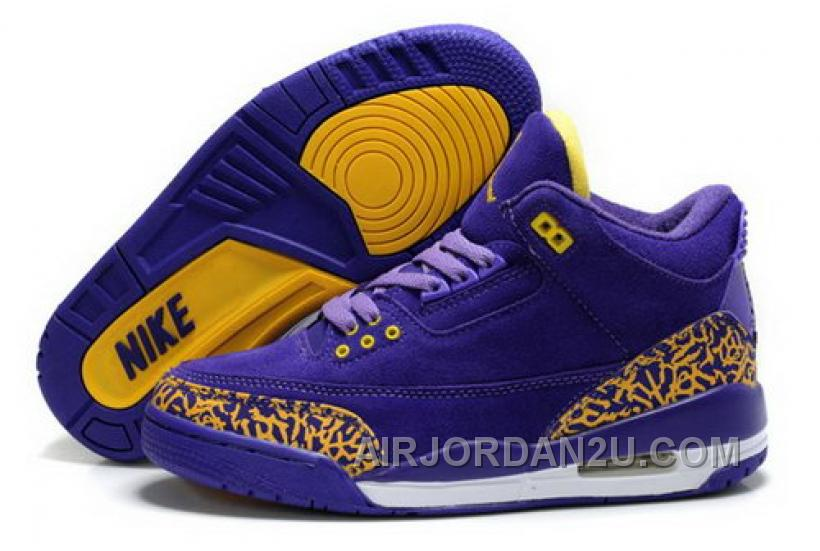 Hot Get Air Jordan 3 Iii Cemenst Retro Womens Shoes Fur Sale Purple Yellow