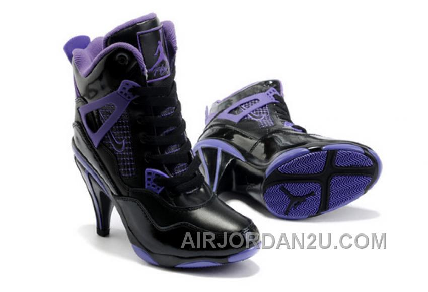 Hot Women's Nike Air Jordan 4 High Heels Shoes Black/Purple