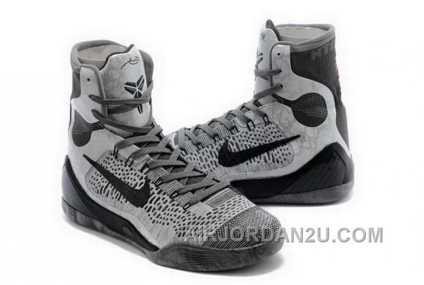 Buy Cheap Nike Kobe 9 High 2015 Grey Black Mens Shoes New Release Tcbwtid